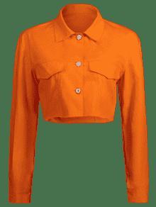 S Oscuro Botones Naranja De Recortada Chaqueta xYnwP4qBX