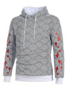 Ceniza Printed Pattern Gris Japanese Hoodie Koi Waves L dPanYHqHw