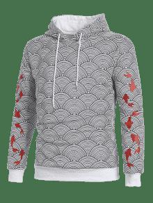 Hoodie Printed L Koi Gris Ceniza Waves Japanese Pattern qT48I