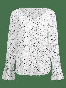 S Cruzados Tira Y Con Blanco Cruzada Blusa Lunares gqXw0x461