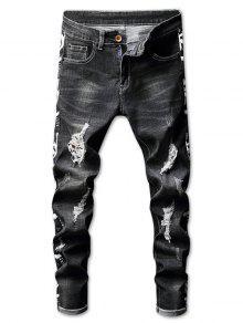 جينز ممزق باهت - أسود 32
