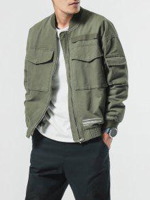 Big Xs Elastic Patch Pockets Cuffs Verde Ejercito Zip Jacket wSOfwAZrq