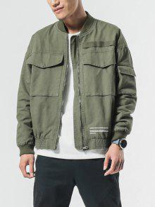 Xs Patch Cuffs Pockets Verde Elastic Zip Big Ejercito Jacket H8SqwUw