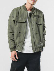 Zip Big Xs Cuffs Elastic Patch Pockets Verde Jacket Ejercito qpwAIzxp