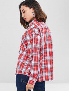 Camisa Cuadros Casta Con Descubiertos Rojo A Hombros o qFxRfBq