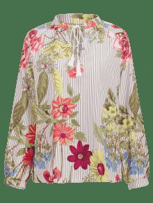 Florales Borlas Blusa Multicolor Rayas S De wfY4x7pq