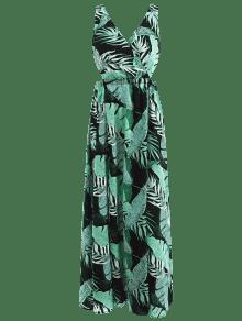 Hojas De Estampado Con Vestido Estampado Largo De S Multicolor Palma wSPUxq