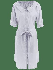 De Cintur Fuera Azulado Camisa Con M Hombro Del Vestido Gris 243;n FdgfqxFa