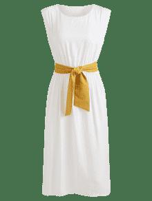 Sin A Mangas Vestido Cintur Blanco 243;n Pierna Con Media qz6xtT