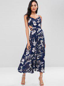 Largo En De Floral Azul Cami Abertura M Alto Vestido Con Corte Profundo 1qtfY10dn