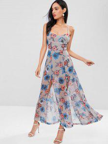 La Florales Gris L Aberturas Maxi En Vestido Con Espalda 6q74qtX