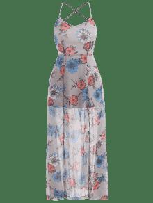 Aberturas Maxi Con Vestido L En Gris La Florales Espalda E47qwq