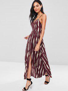 Tie Back Uneven Stripe كامي فستان ماكسي - نبيذ احمر L