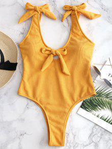 مضلع BOWKNOT اغراق ملابس السباحة - أصفر فاقع L