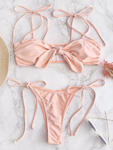 Tie Front String Bikini Set - بينك الزهر M