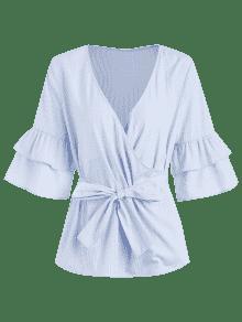 De A S Rayas Cintur Claro Blusa Con Azul 243;n Surplice wg1RXSqx