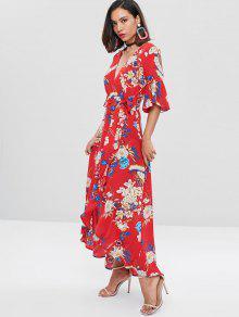 Rojo S Manga Vestido Falda Con Maxi Larga Floral Acampanada Y 8fOq6xgwF