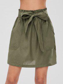 جيب صغير مربوط تنورة - الجيش الأخضر L
