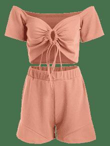 Conjunto De Acanalado Top Naranja Nudo Pantal De Punto S Y Salm 243;n Con 243;n CqpC4