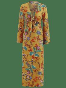 Abertura Vestido Floral Superior La Multicolor Lazo Y En Parte L Con 4wgxwqUI