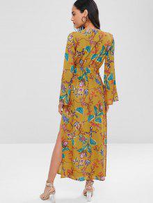 Floral Parte Lazo Superior Con Vestido Multicolor Abertura En L Y La Td6Rq