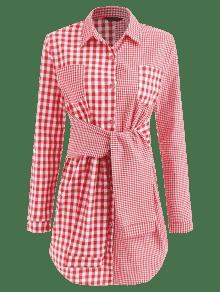 Rojo Amo Gingham Camisa 243;n De De S La Vestido Algod Anudado P0xzqnw8