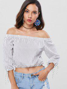 Tied Stripes Off Shoulder Top - Blanco S