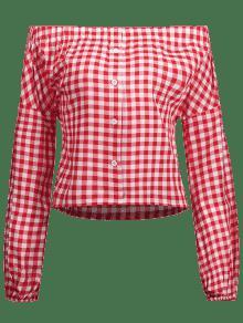Cuadros S De Hombro De Botones Rojo Blusa De 0g5wUW07qx