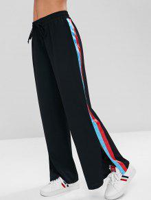 Side Ribbon بنطلون واسع الساق - أسود L