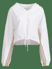 Drawstring Hem Blanco Colorful Stripes Hoodie SSI4qwdr