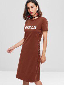 الفتيات الدانتيل يصل تي اللباس - L