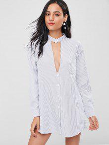 فستان بنمط قميص مخطط - أبيض م