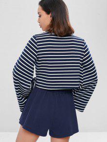 Sleeve Bell Camiseta Pantal Azul Y Profundo Corto 243;n Crop M XqOUgvwx