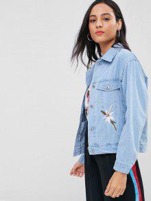 S Con Mezclilla Chaqueta Bordada De Jeans Estampado Azul De Floral gqawztxa5