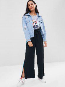 Estampado Mezclilla Con De Azul Bordada Jeans De Floral S Chaqueta qwp41f