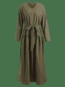 Vestido Con De Larga Con Larga Manga Verde Manga Cintur S 243;n Ejercito ddw1fr