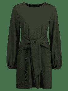 Verde Oscuro De S Shift Manga Punto Larga De Vestido Knit De Bosque vZ8nx80