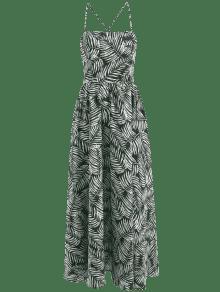 Estampado Con Estampado Maxi De Hojas De Multicolor Vestido Encaje S 6IX6v