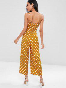 976242328bd4 23% OFF] 2019 Dressy Polka Dot Palazzo Wide Leg Jumpsuit In PAPAYA ...