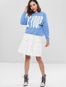 Letter Azul Loose Hoodie Denim Graphic dqC7wBT
