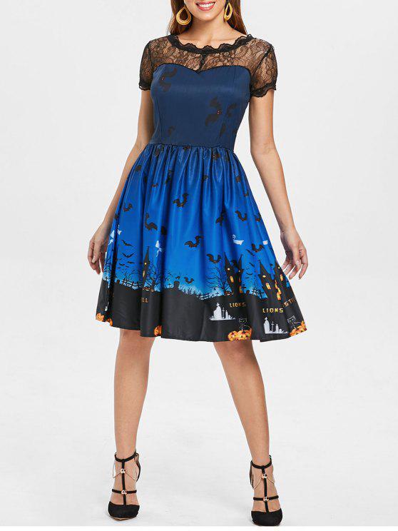 Halloween Vintage-Kleid mit Spitze-Einsatz - Blau XL