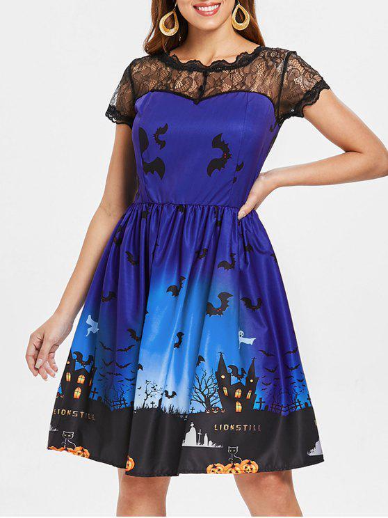 Halloween Vintage-Kleid mit Spitze-Einsatz - Königlich Blau XL