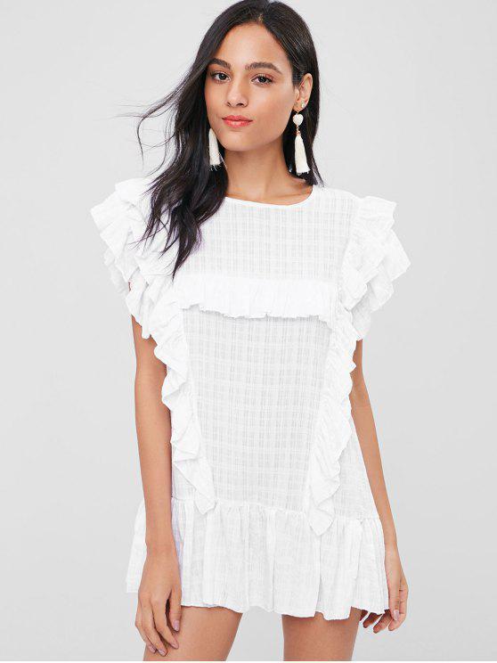 Babados boné mini vestido de mangas - Branco Tamanho único
