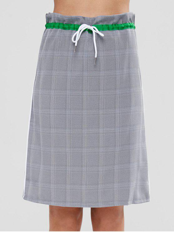 outfit Slit Back Checked Drawstring Midi Skirt - MULTI L