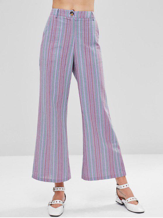 Pantalon Zippé Rayé à Jambe Large - Multi M