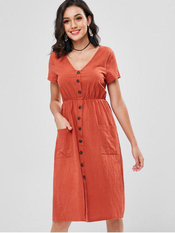 trendy Decorative Buttons Patch Pocket Midi Dress - CHESTNUT RED S