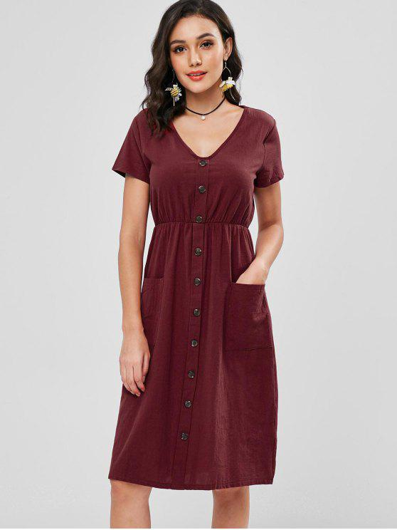 chic Decorative Buttons Patch Pocket Midi Dress - RED WINE S