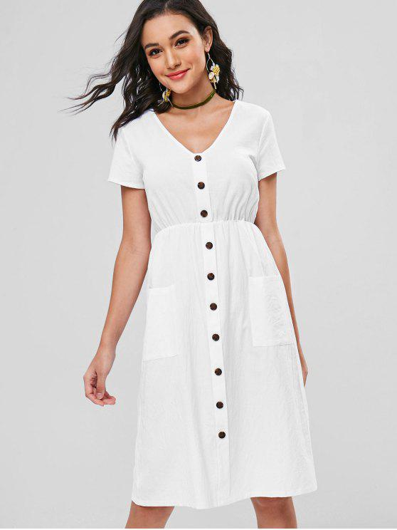 Botões Decorativos Patch Pocket Midi Dress - Branco M