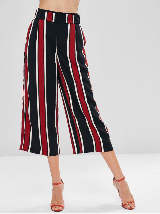 womens Pockets Striped Wide Leg Palazzo Pants - MULTI M
