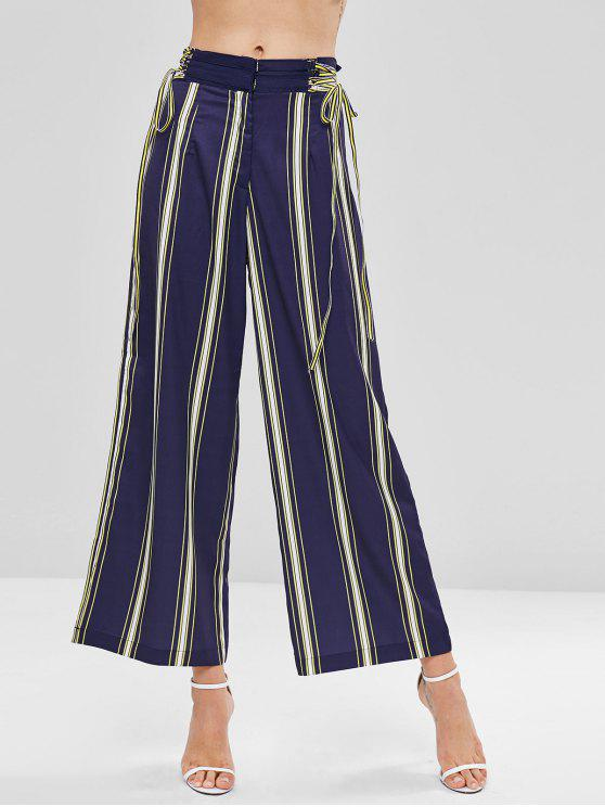lady Lace Up Stripes Wide Leg Pants - MULTI M